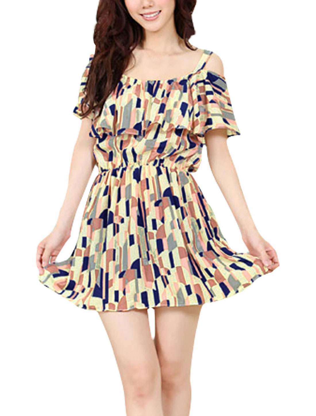 Sexy Ladies Casual Spaghetti Straps Flouncing Stretchy Geometric Prints Multi-color Dress XS