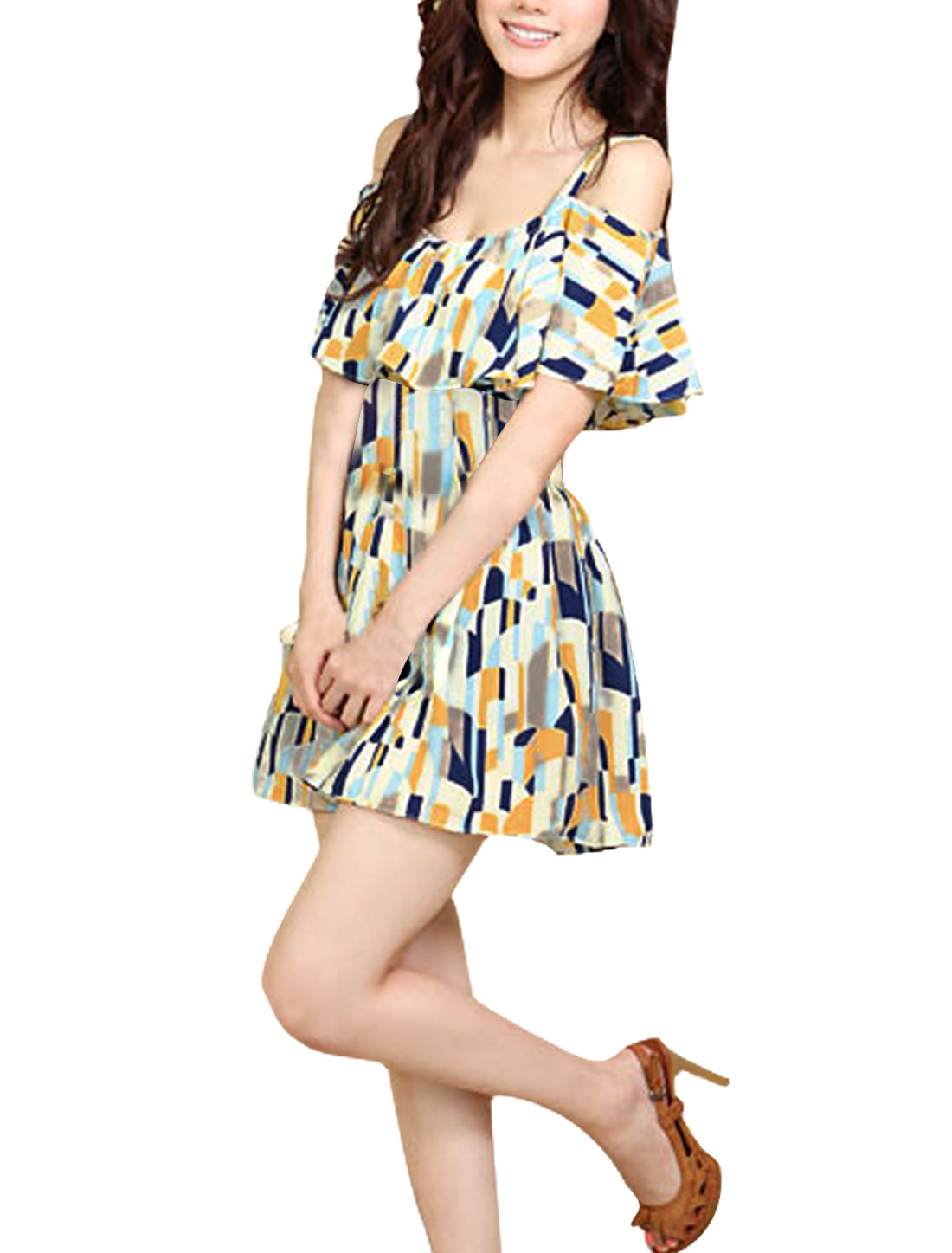 Sexy Ladies Casual Spaghetti Straps Flouncing Stretchy Geometric Prints Dress Yellow XS