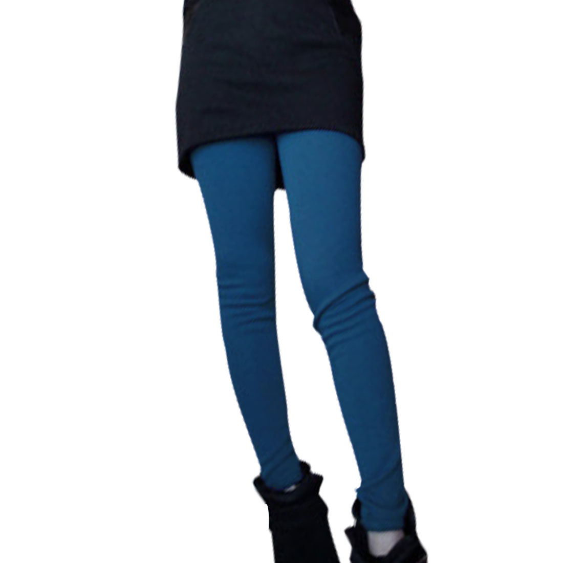 Ladies Blue Elastic Waist Stretchy Casual Winter Warm Leggings XS