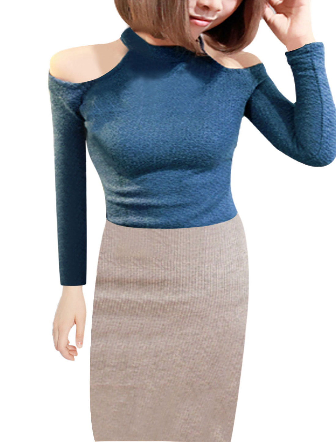 Ladies Stretchy Knitted Mock Neck Long Sleeve Slim Pullover Tops Solid Blue XS