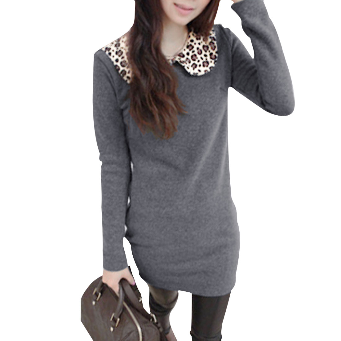 Ladies Dark Gray Peter Pan Collar Pullover Fleece Inner Casual Shirt XS