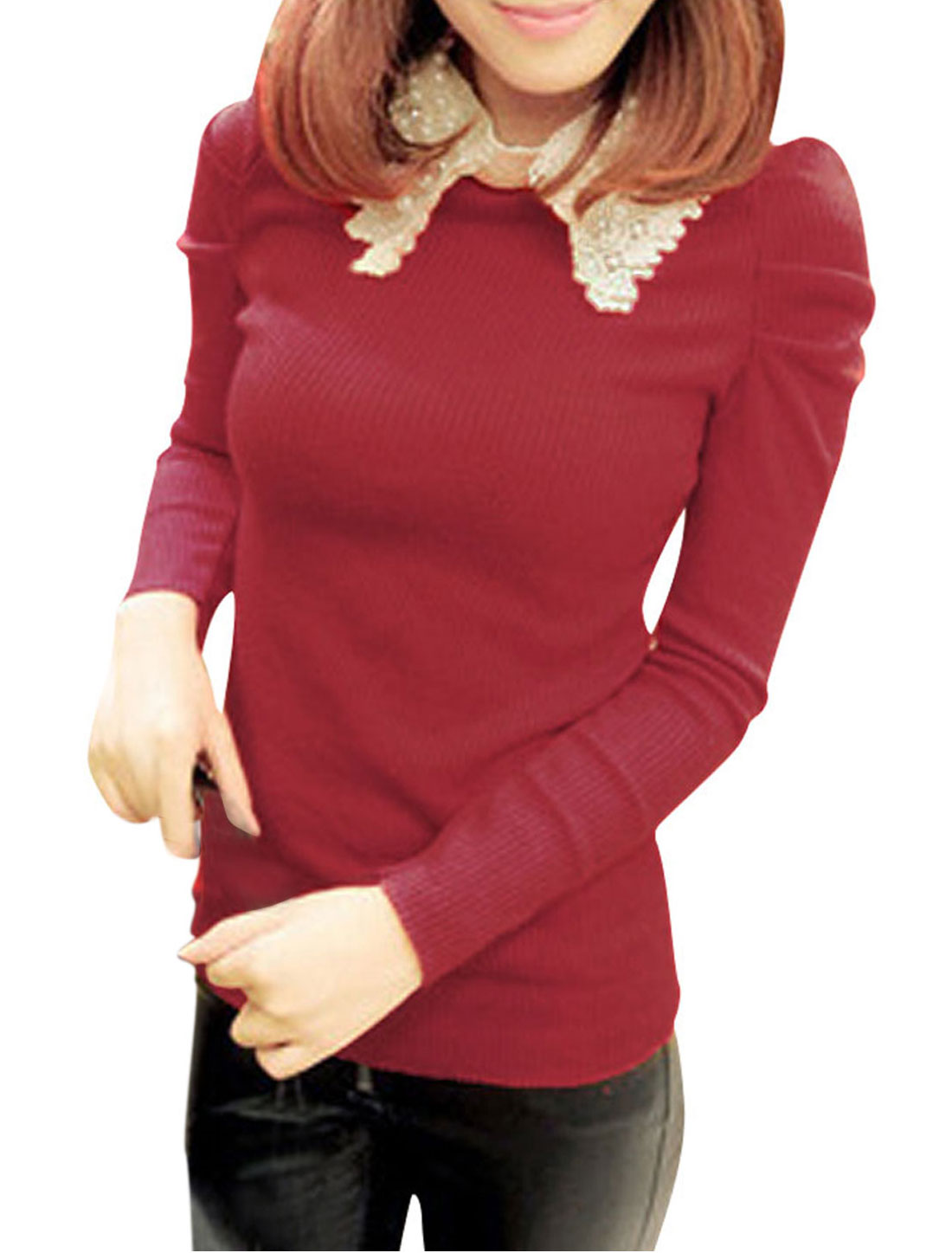 Ladies Red Puff Sleeves Stretchy Autumn Pullover One Button Shirt XS