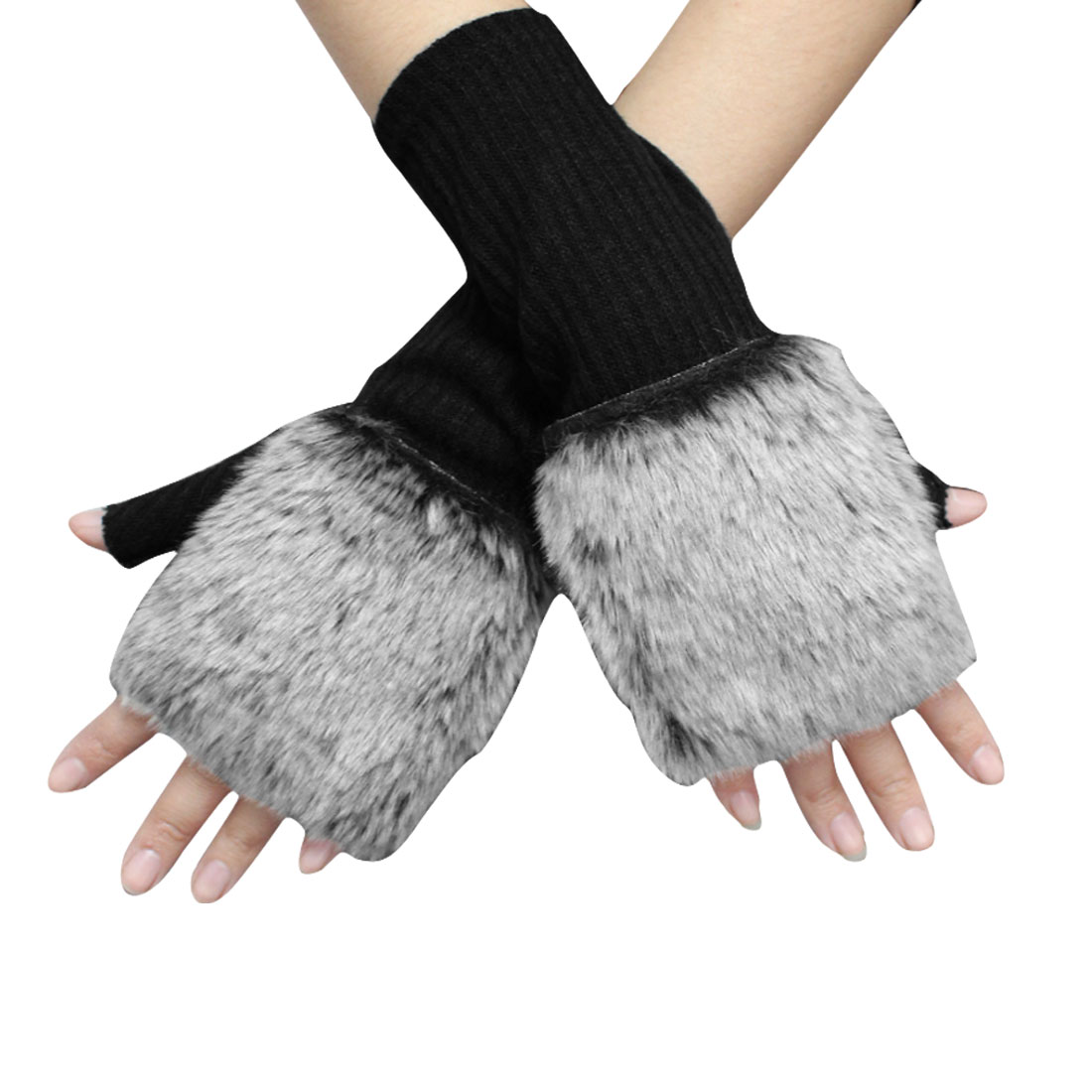 Ladies Black Faux Fur Path Thumb Finger Wrist Length Gloves