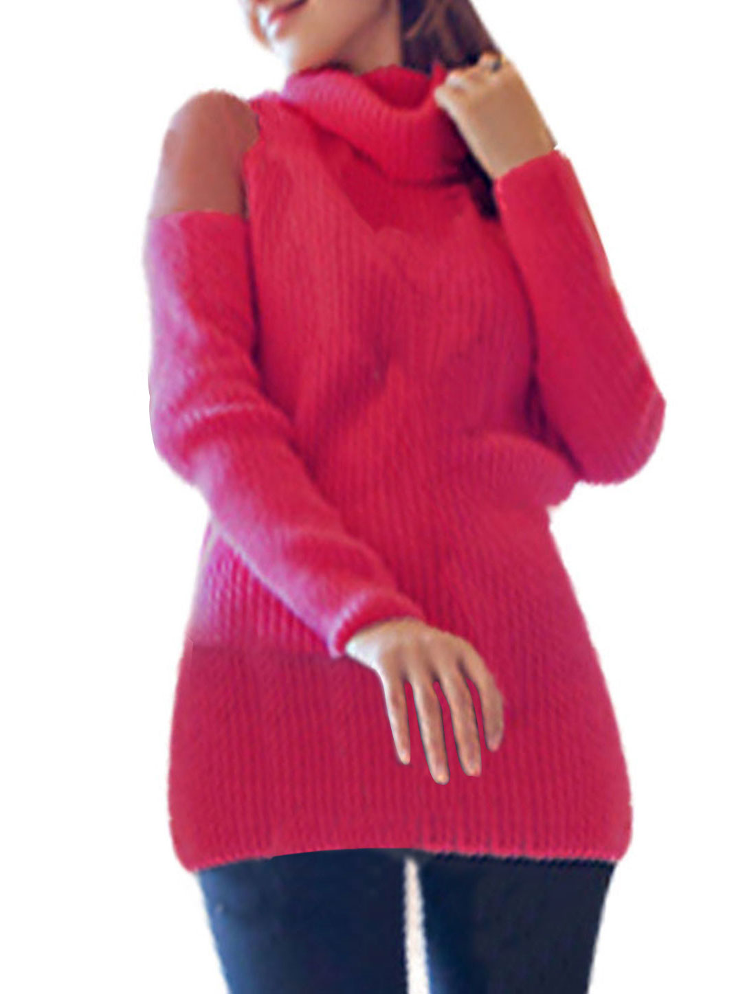 Womens Semi Sheer Lace Shoulder Turtleneck Ribbed Design Stretch Fuchsia Top S