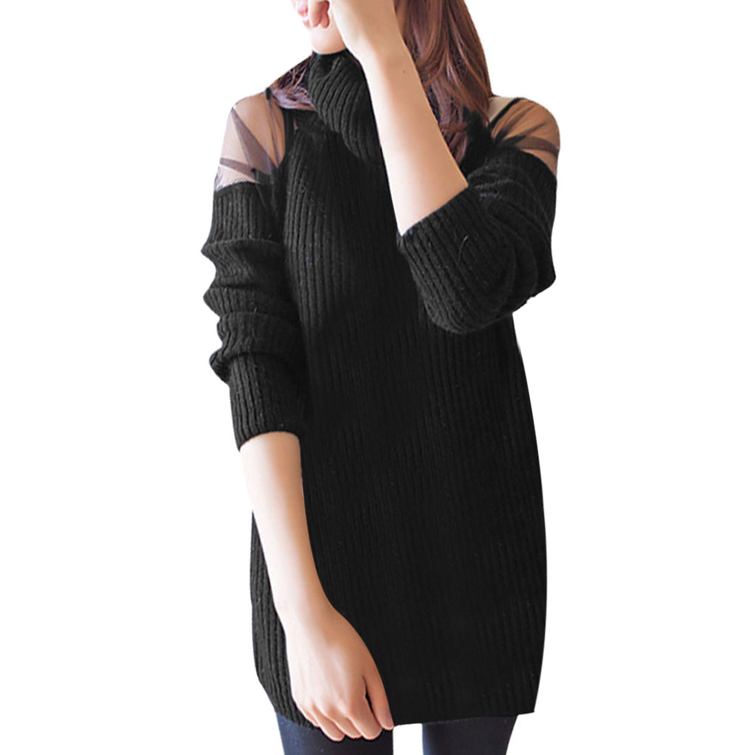 Semi Sheer Lace Shoulder Long Sleeve Solid Black Pullover Sweater For Ladies S