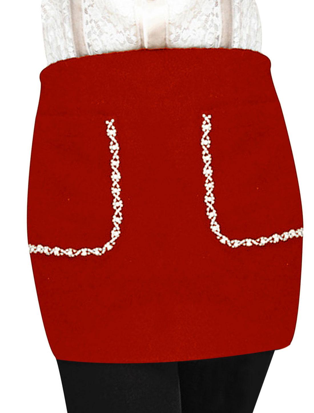 Ladies Rhinestone Decor Side Zipper Pockets Mini Skirt Orange XS