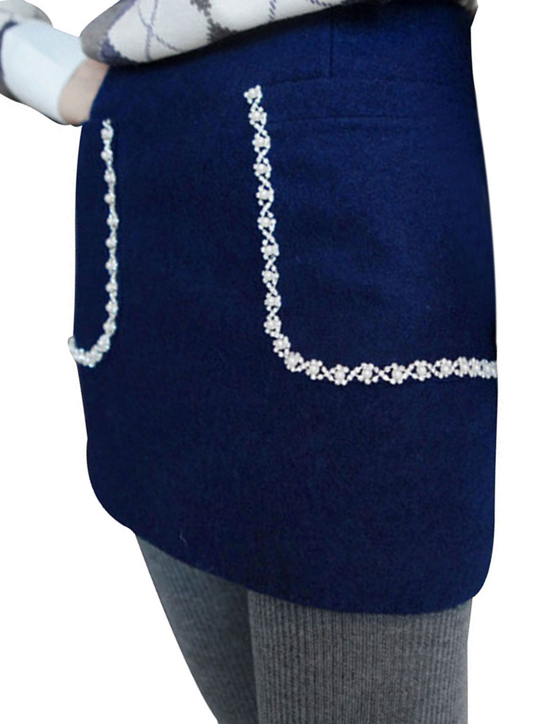 Ladies Blue Natural Waist A-Line Casual Trendy Mini Skirt XS