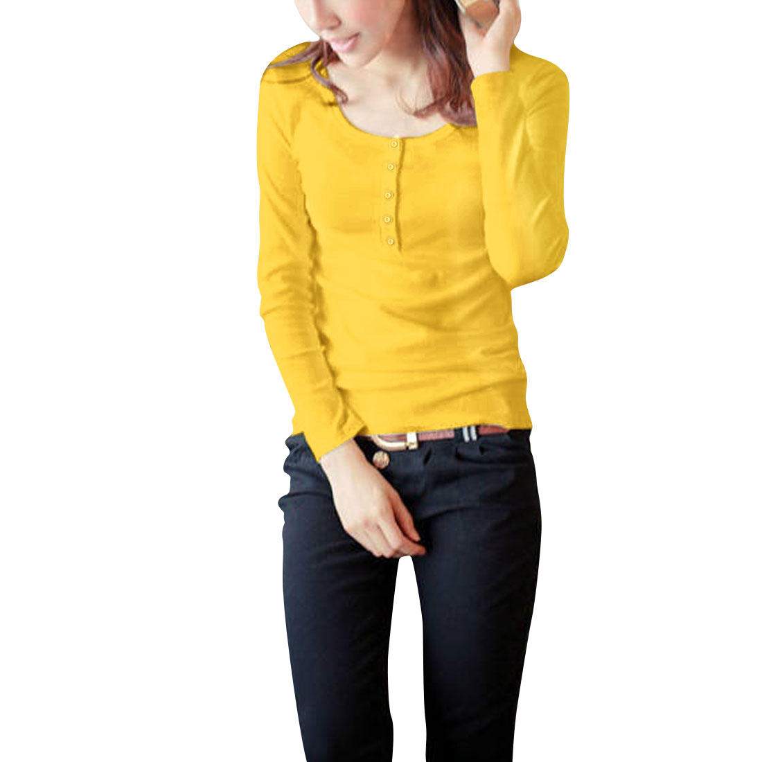 Ladies Yellow Scoop Neckline Pullover Stretchy Button Closure Detail Shirt X