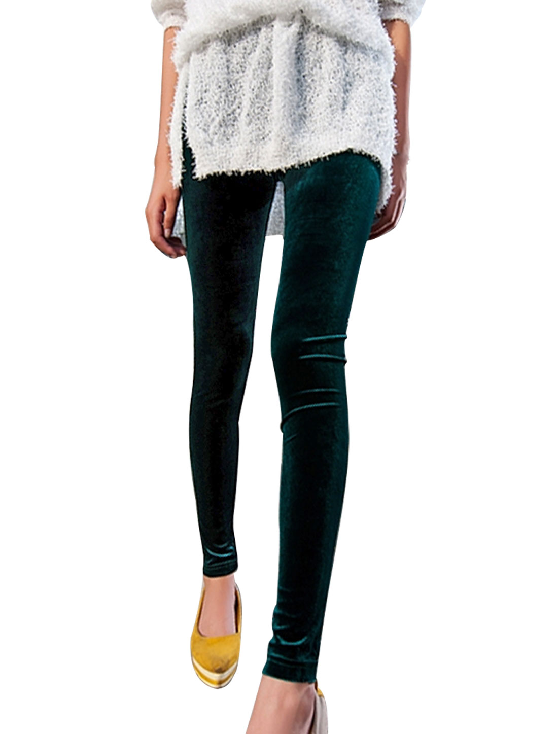 Ladies Dark Green Stretchy Autumn Mid Rise Skinny Leggings XS