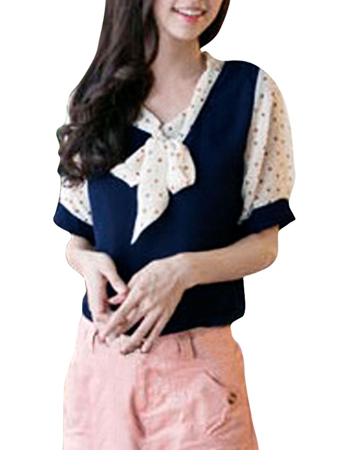 Ladies Navy Blue Short Sleeves Dots Pattern Semi Sheer Summer Shirt XS