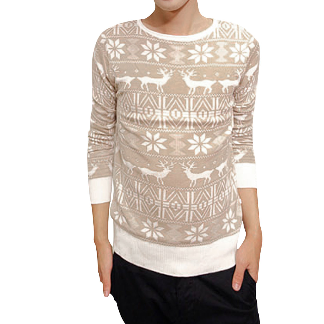 Mens Fashion Khaki White Long Sleeve Contrast Reindeer Pattern Knit Sweater S