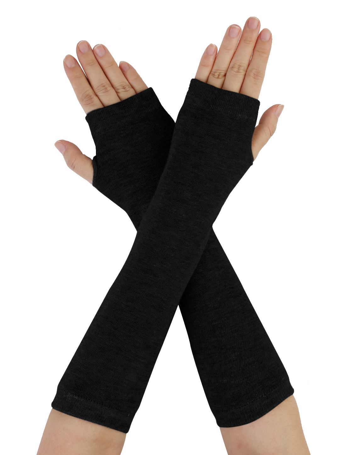 Unisex Classic Fashion Black Stretch Fingerless Arm Warmmer Oversleeve