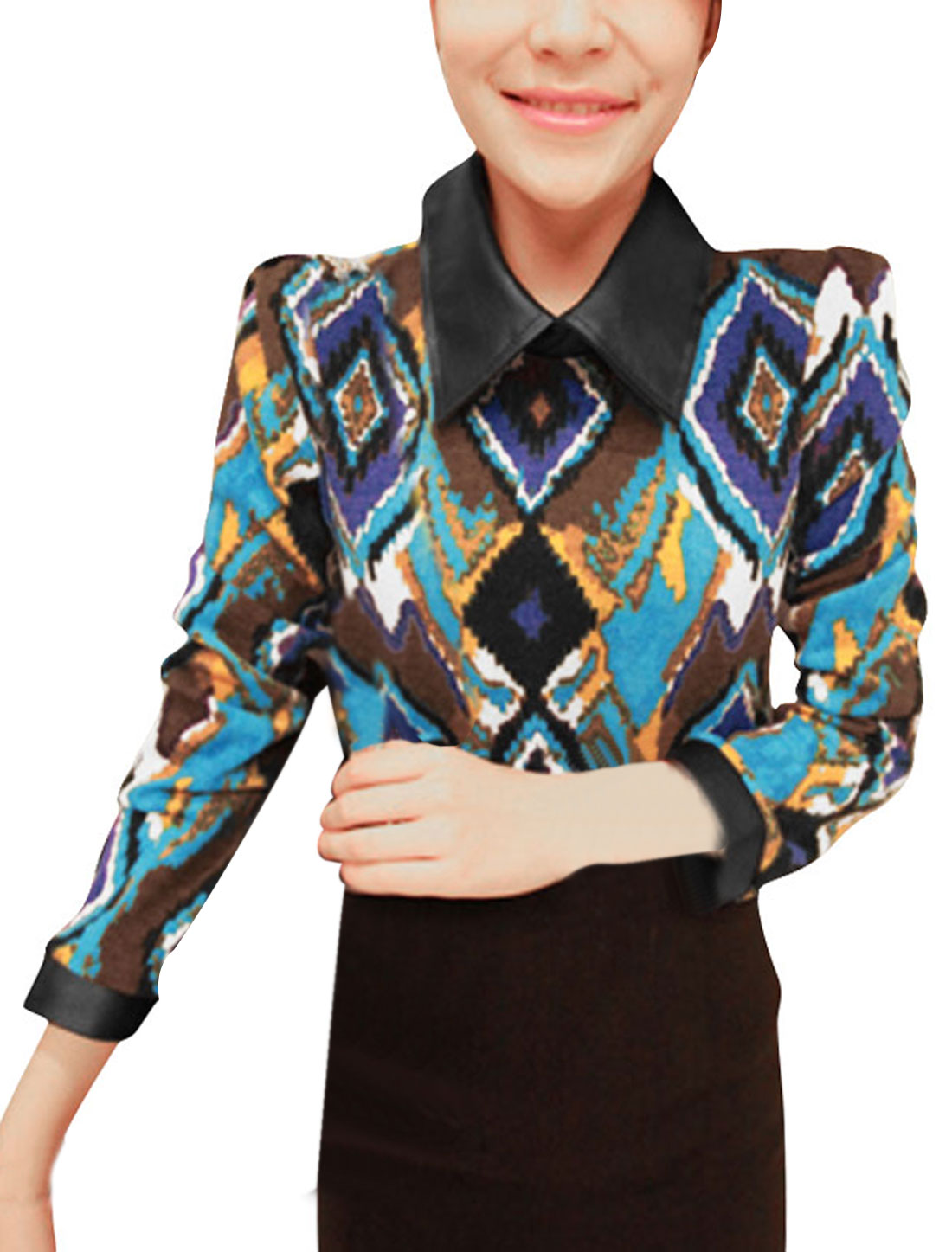 Ladies Faux Leather Cuff Hook Eye Closure Argyle Wing Collar Shirts Multicolor XS