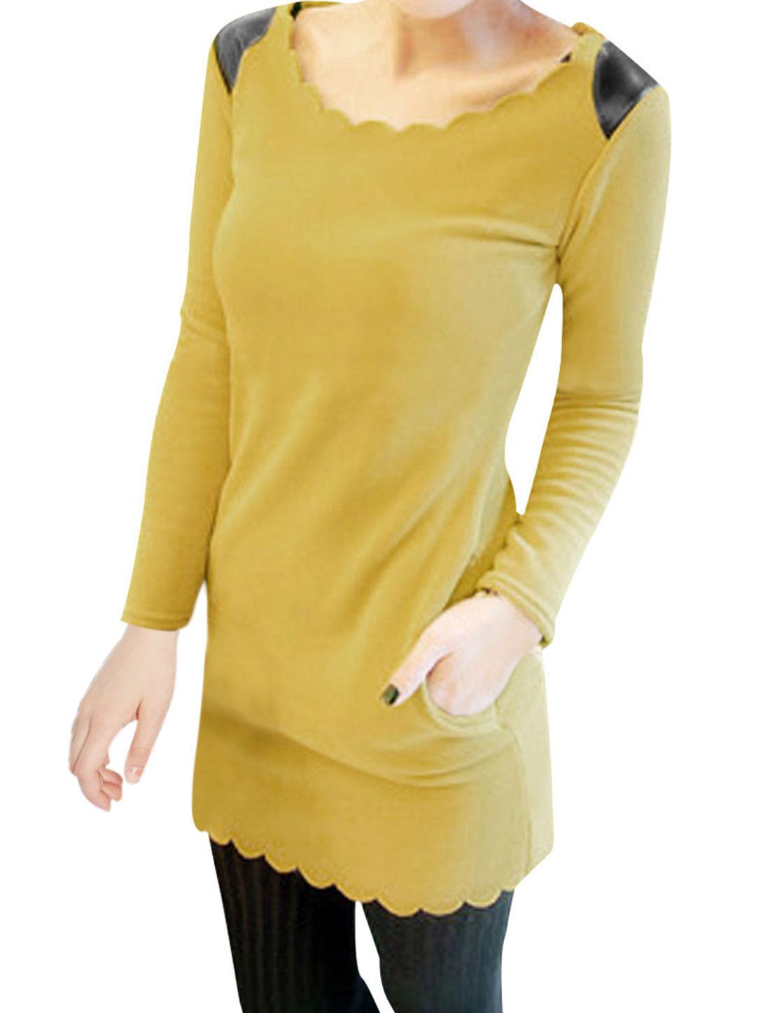 Ladies Yellow Fleece Inner Casual Pullover Autumn Tunic Shirt XS