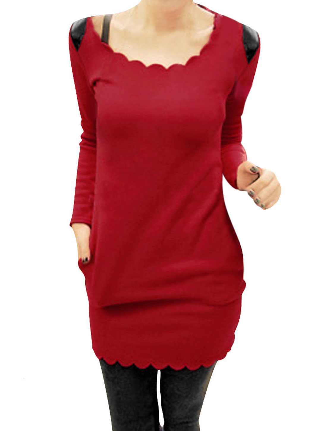 Ladies Red Side Pockets Autumn Stylish Tunic Shirt XS
