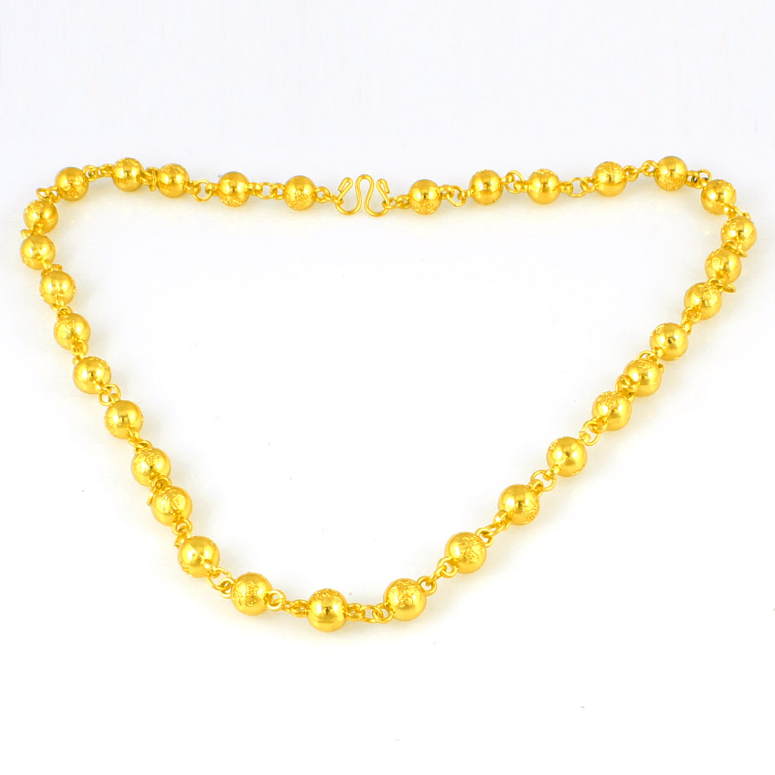 Carved Chinese Words Round Beads Gold Tone Chrome Plated Necklace