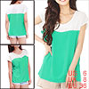 Ladies Color Blocking Round Collar Rhinestone Decor Shirts Light Green S