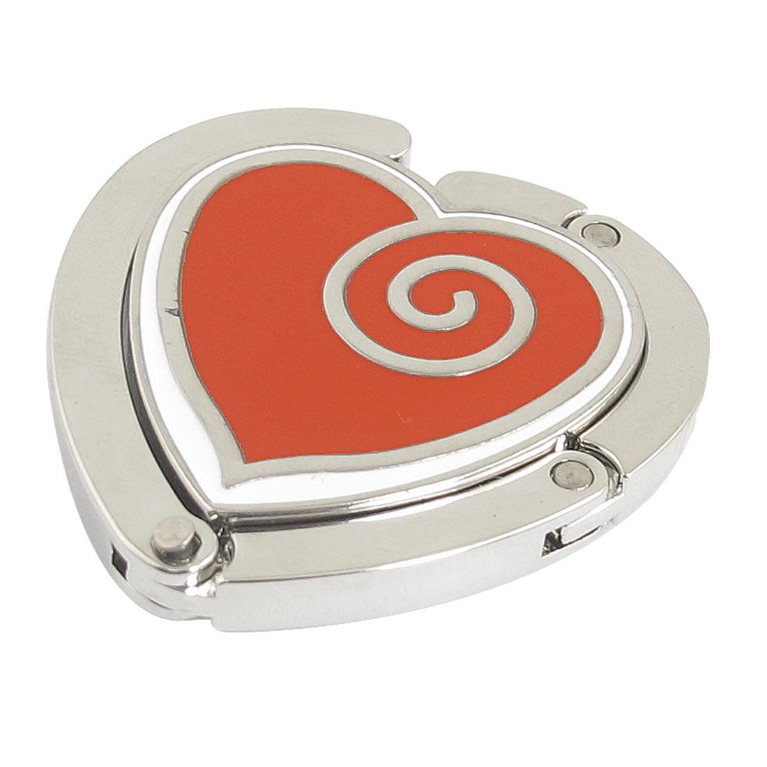 Heart Shaped Silver Tone Metal Magnetic Foldable Handbag Hook