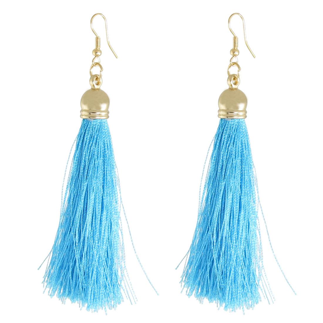 Woman Decoration Nylon Tassel Pendant Dangler Hook Earrings Blue Pair
