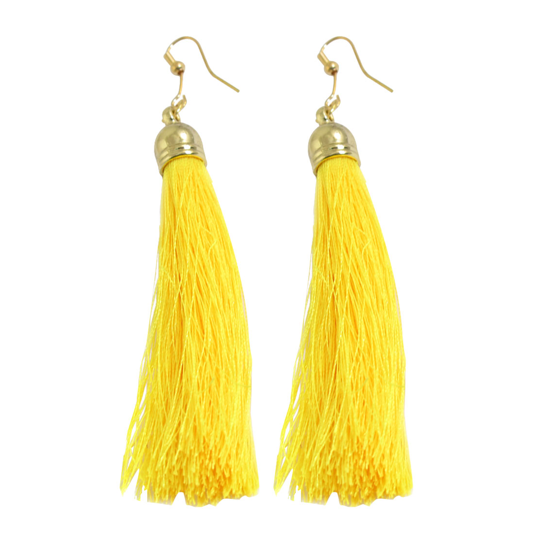 Woman Decoration Nylon Tassel Pendant Dangler Hook Earrings Yellow Pair
