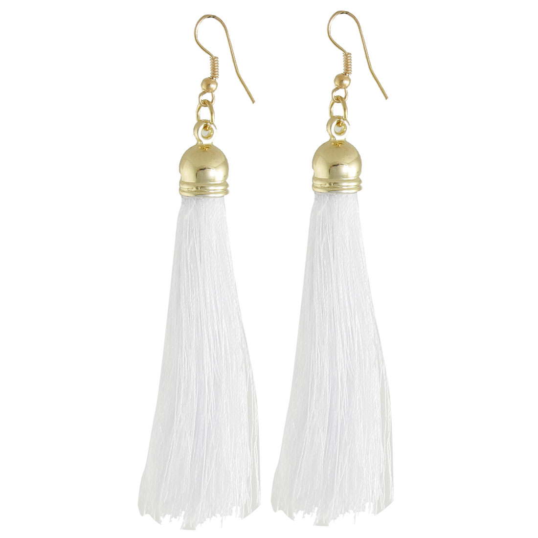 Pair White Nylon Tassel Dangle Fish Hook Earrings Jewelry for Women