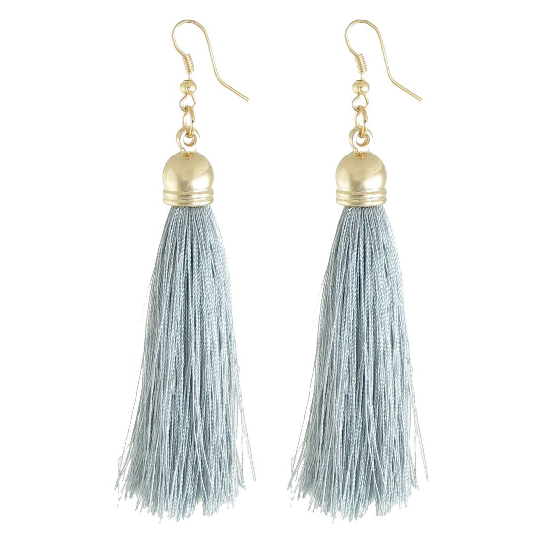Woman Decoration Nylon Tassel Pendant Dangler Hook Earrings Light Gray Pair