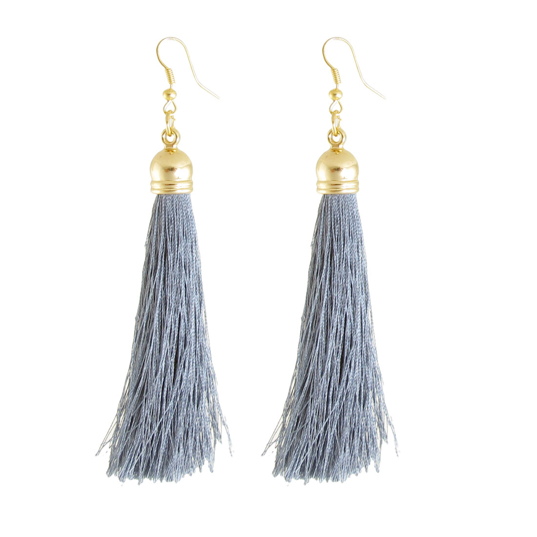 Pair Ladies Girl Dark Gray Nylon Tassel Pendant Dangling Eardrop Earrings