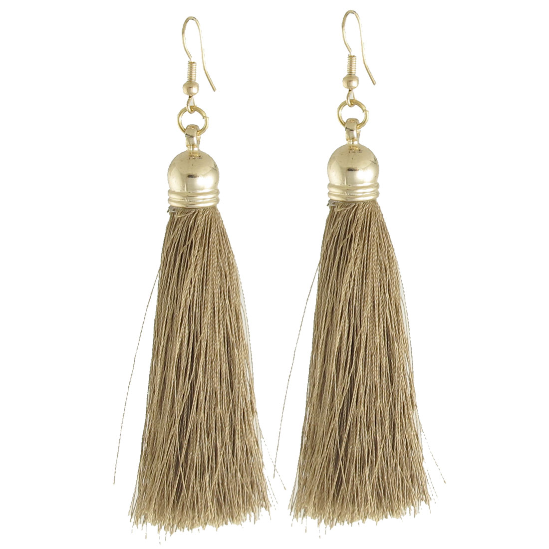 Woman Decoration Nylon Tassel Pendant Dangler Hook Earrings Brown Pair