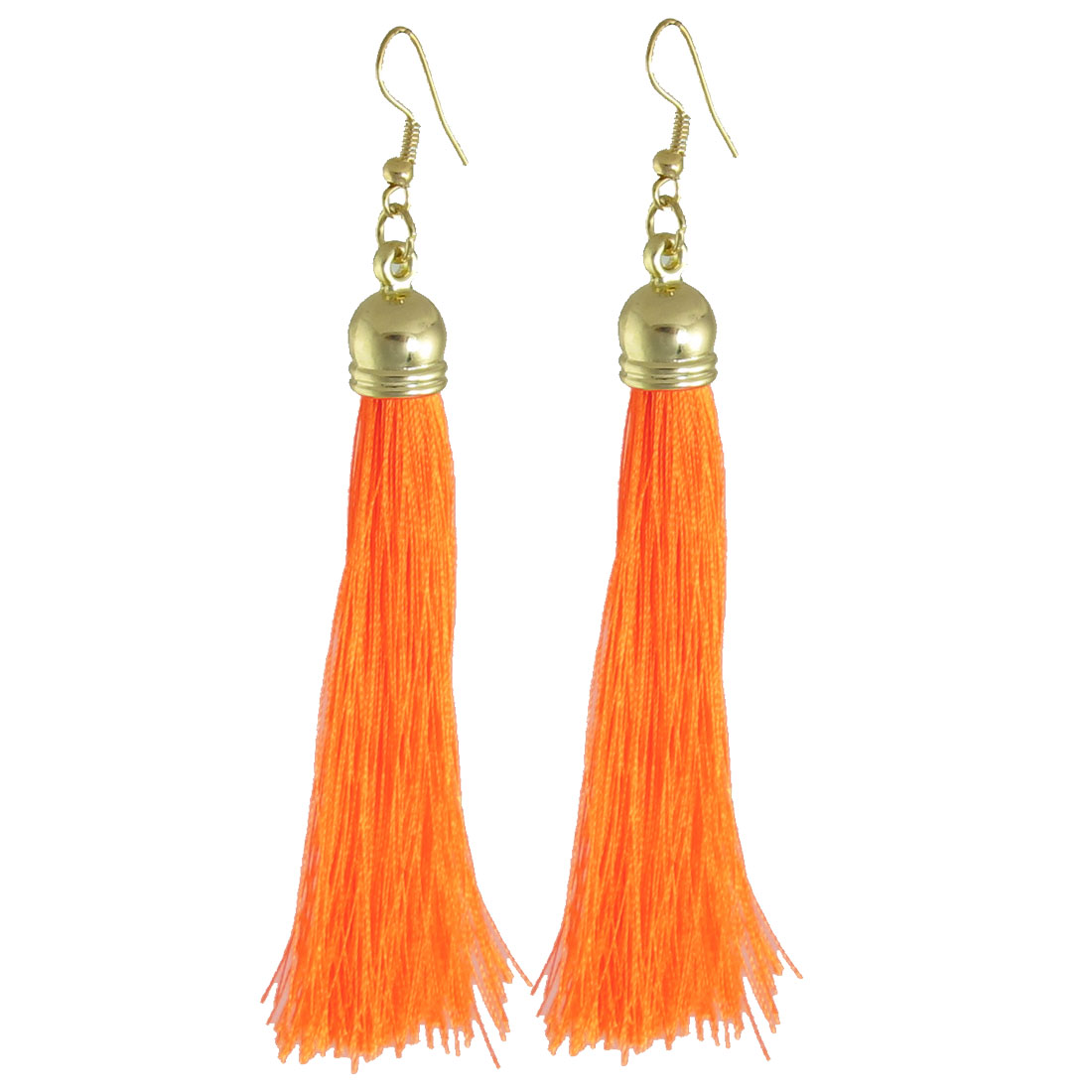 Pair Orange Nylon Tassel Dangle Fish Hook Earrings Jewelry for Women