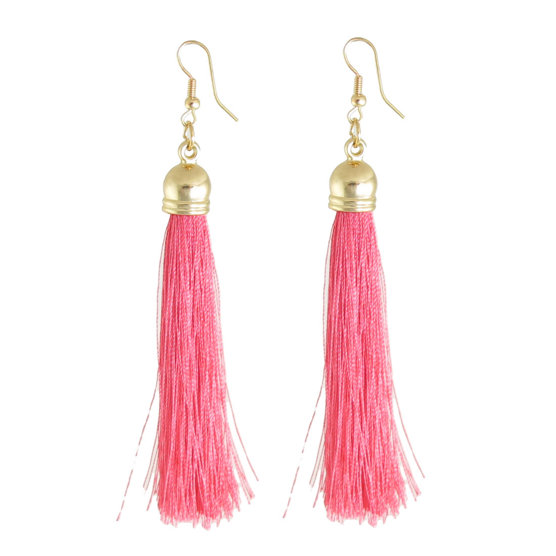 Pair Watermelon Red Nylon Tassel Dangle Fish Hook Earrings Jewelry for Women