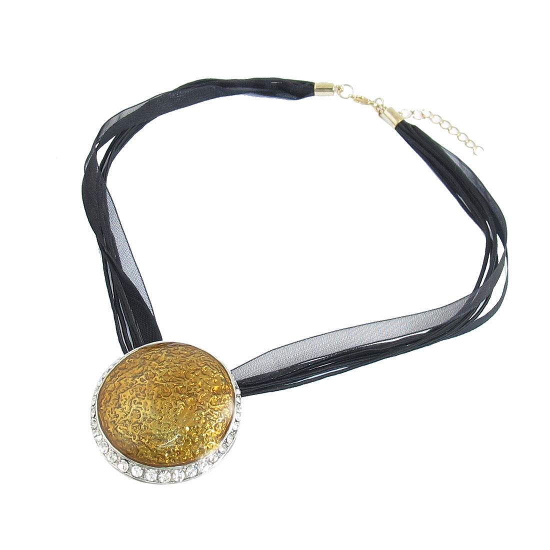 Gold Tone Decor Round Pendant Black Nylon Multi String Necklace for Ladies