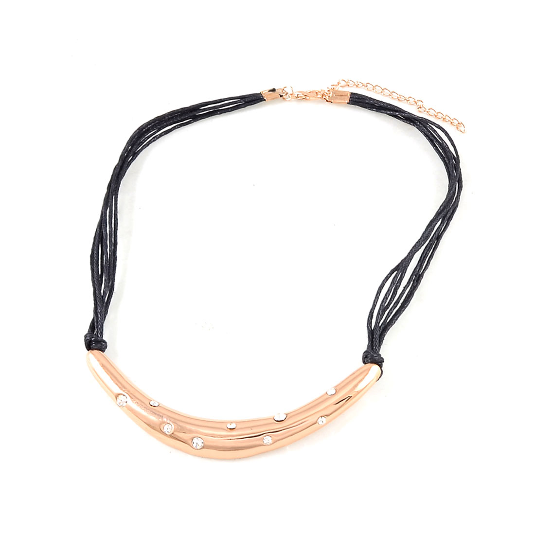 Rose Gold Tone Arc Shaped Pendant Black Nylon Multi String Necklace for Ladies