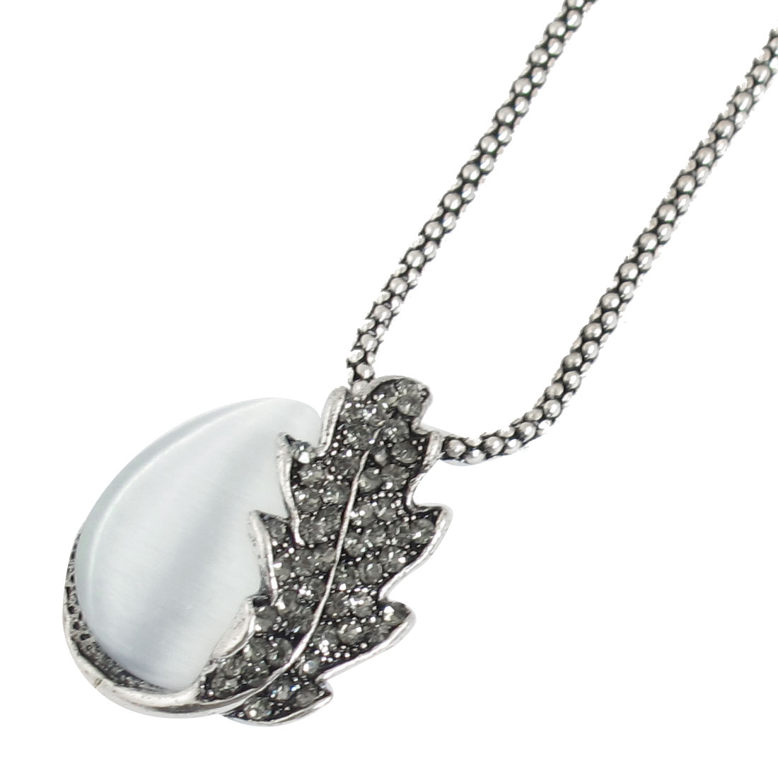 Waterdrop Shaped Faux Cat Eye Stone Pendant Necklace Silver Tone for Women