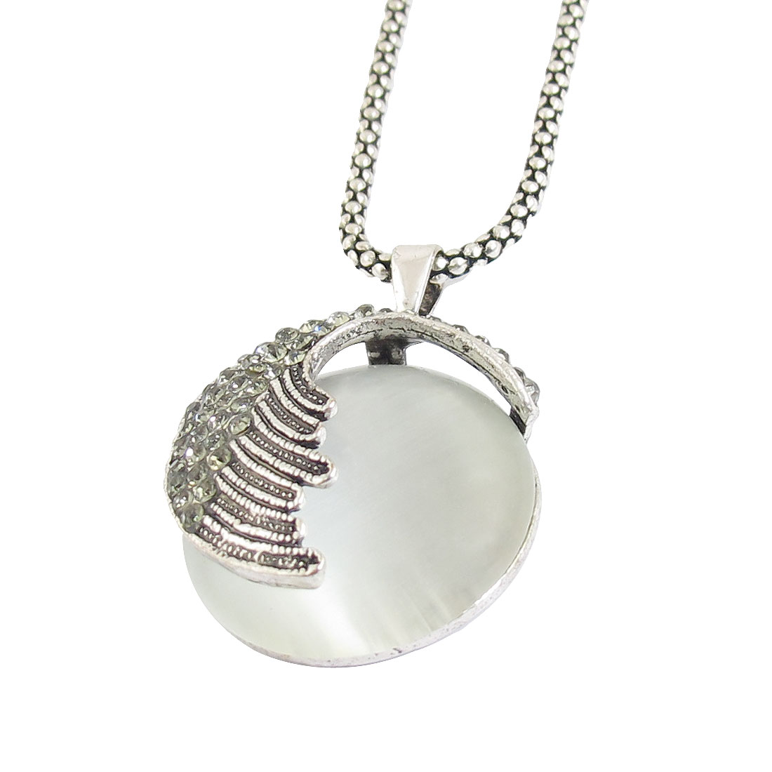 Round Faux Cat Eye Stone Accent Pendant Necklace Silver Tone for Ladies