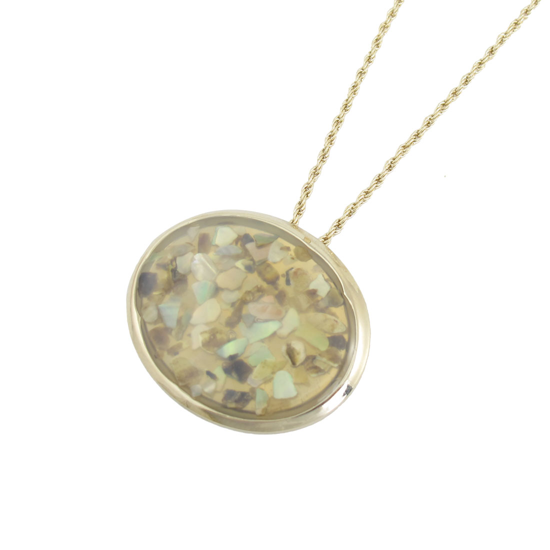Plastic Crystal Inlaid Oval Pendant Necklace Gold Tone for Women