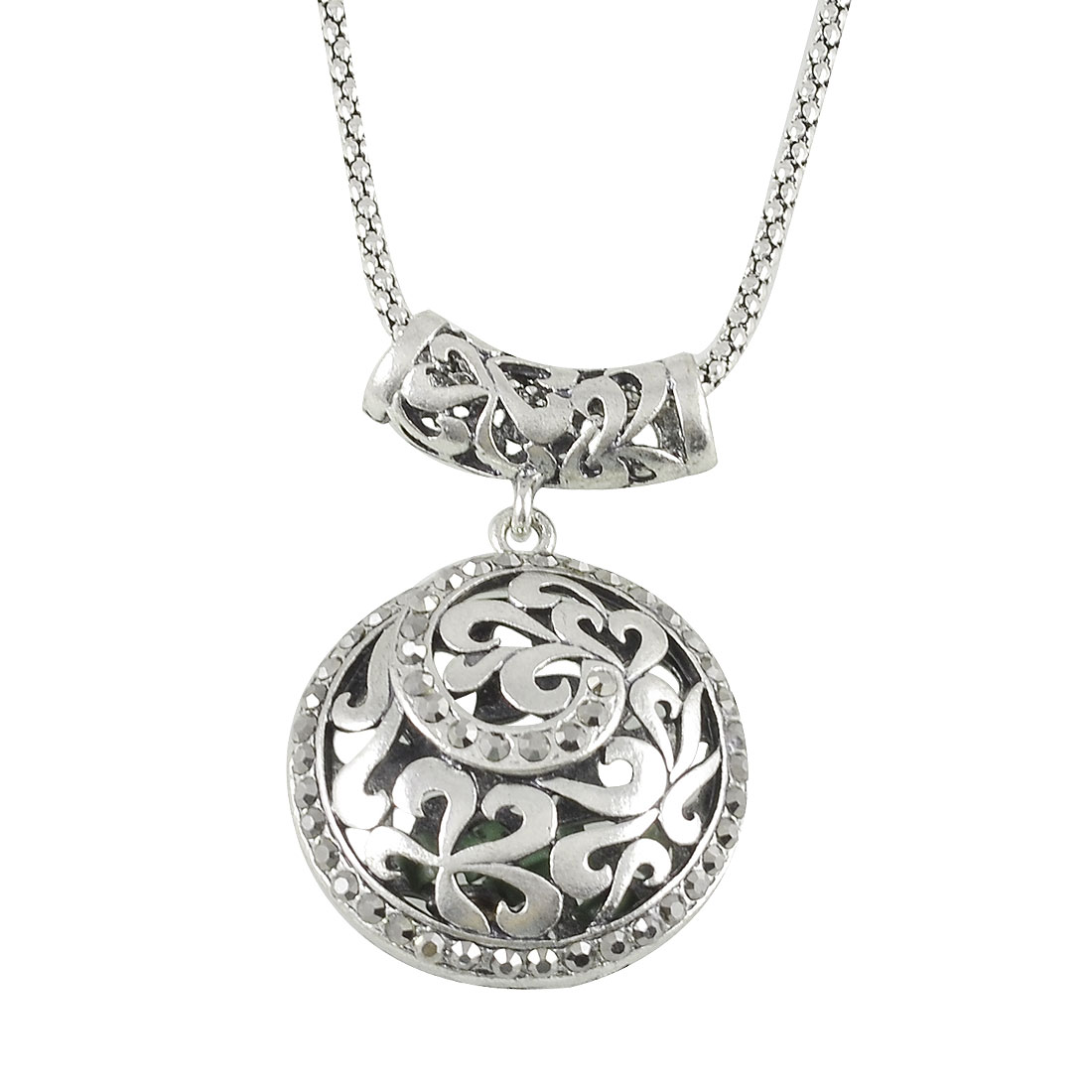 Hollow Out Round Pendant Necklace Silver Tone for Women
