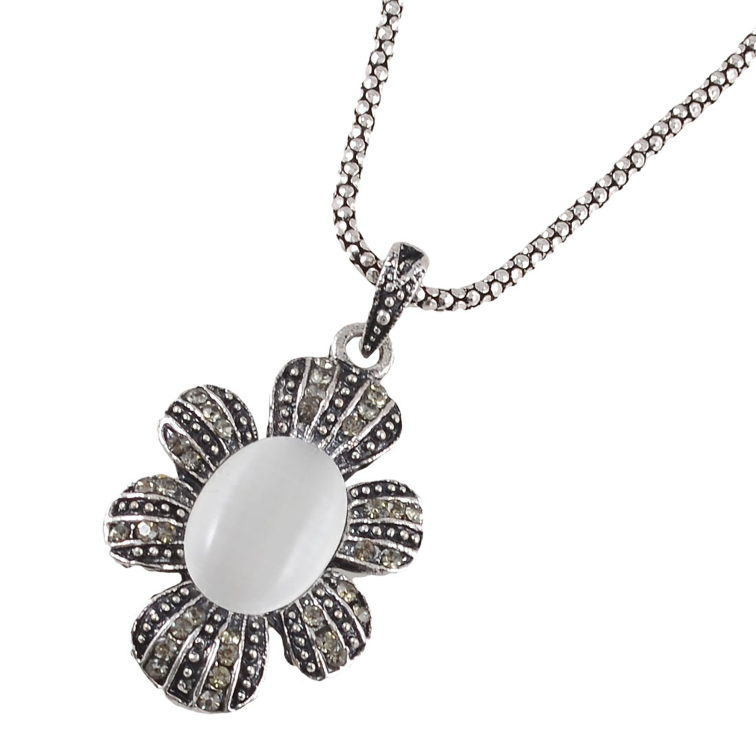 Faux Cat Eye Stone Decor Flower Shaped Pendant Necklace Silver Tone for Women