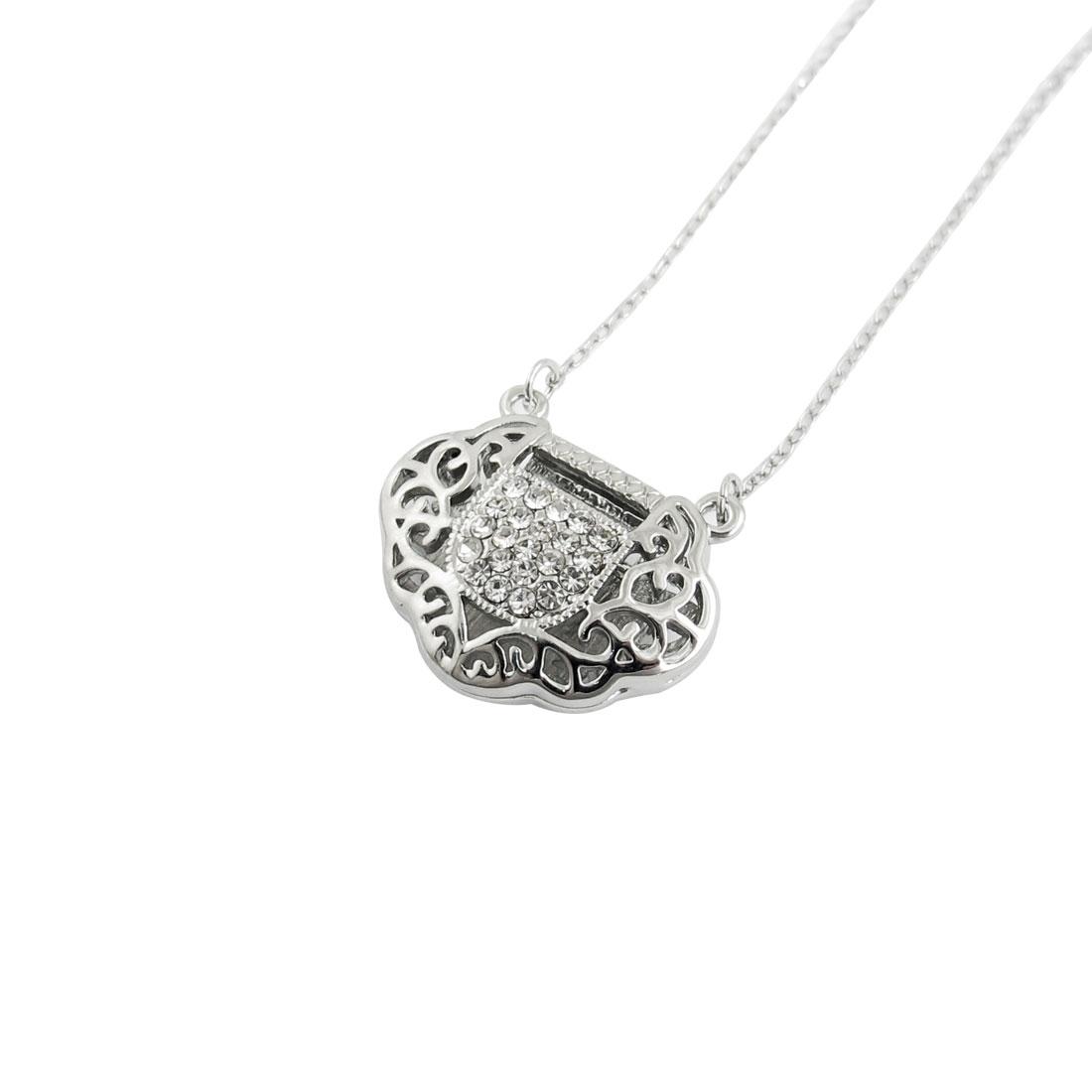 Ladies Heart Pattern Longevity Lock Pendant Silver Tone Chain Necklace