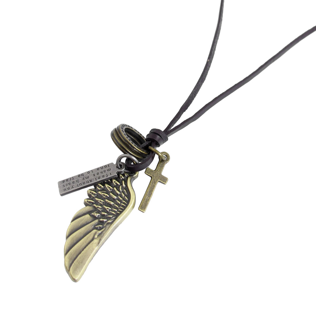 Bronze Tone Metal Wing Pendant Faux Leather String Necklace for Ladies