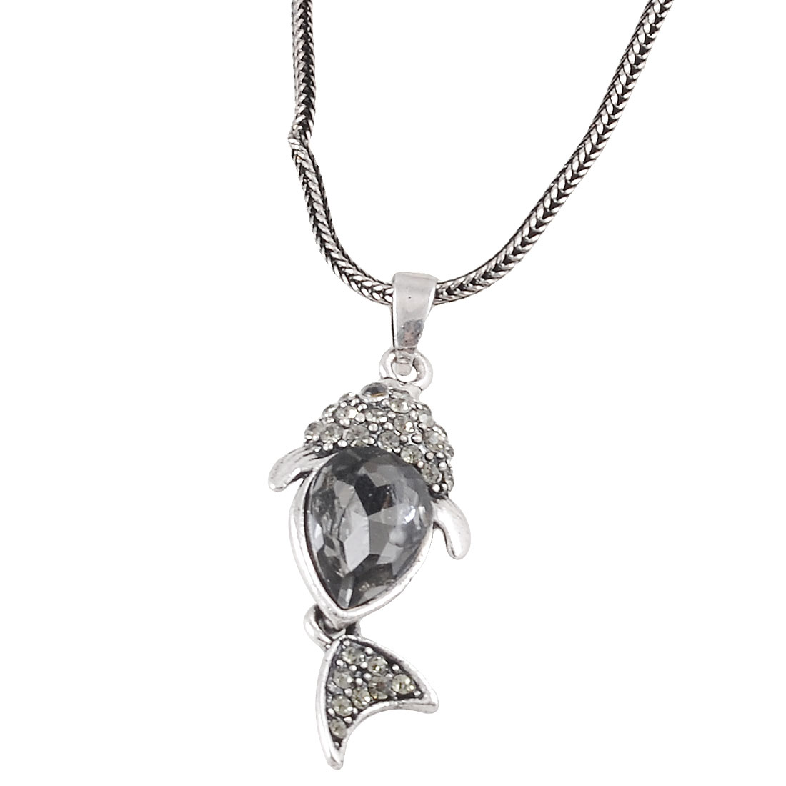 Rhinestone Decor Fish Pendant Necklace Silver Tone Black for Women