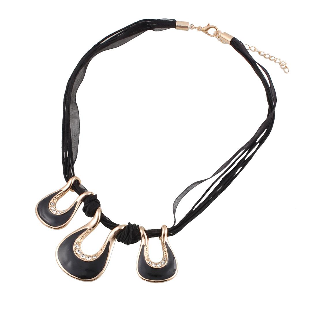 Rhinestone Decor Handbang Pendant Black Nylon String Necklace for Women