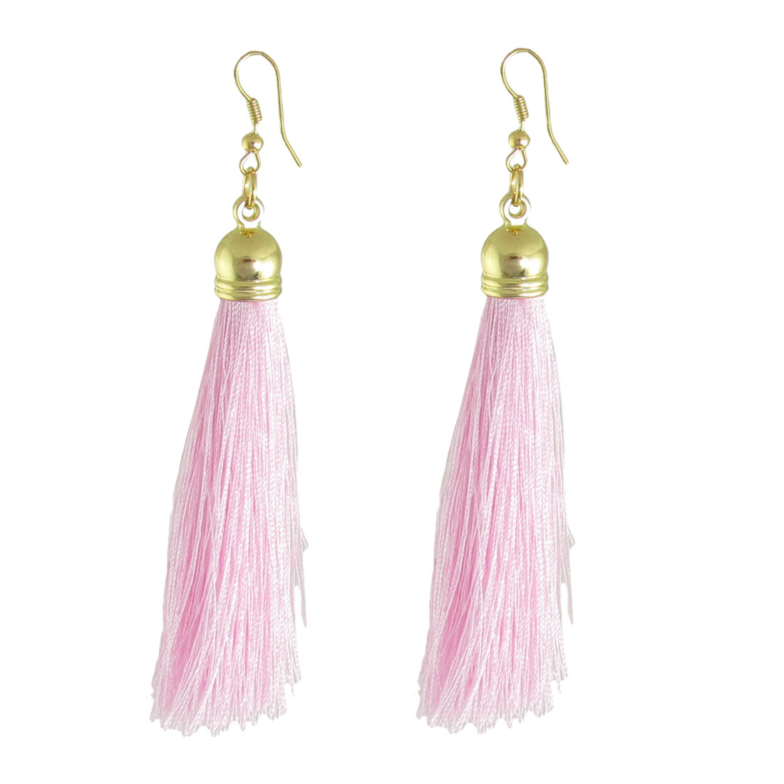 Pair Pink Nylon Tassel Dangle Fish Hook Earrings Jewelry for Women