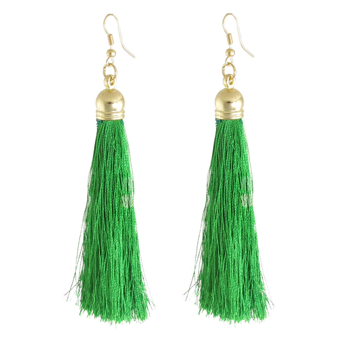 Pair Ladies Girl Green Nylon Tassel Pendant Dangling Eardrop Earrings