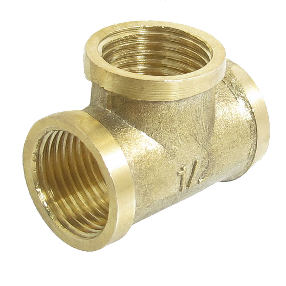 "1/2"" PT Female Thread Pneumatic Air Pipe Brass Tee Connector Coupler"