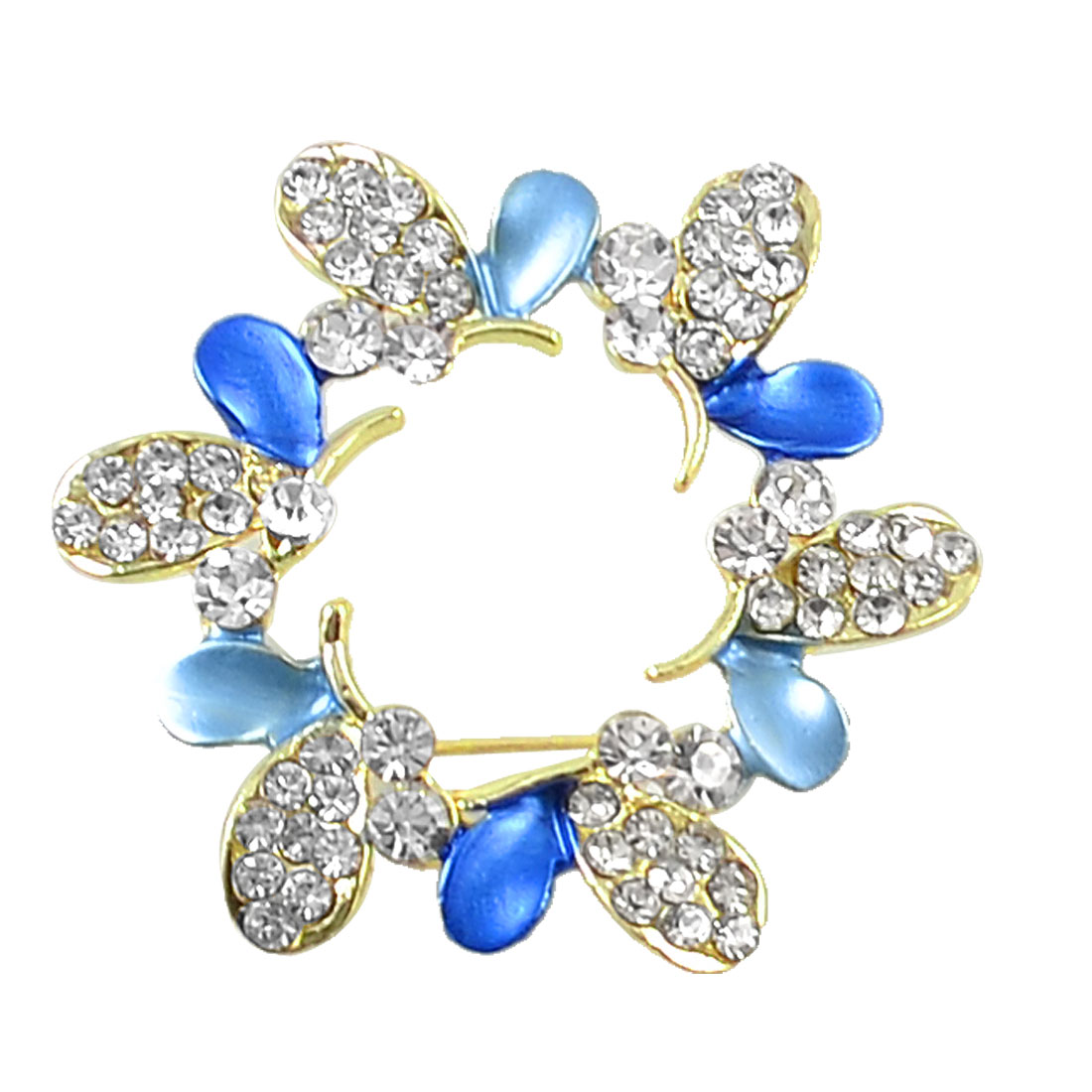 Blue Leaves Rhinestone Accent Flower Pin Brooch Breastpin Gift Gold Tone