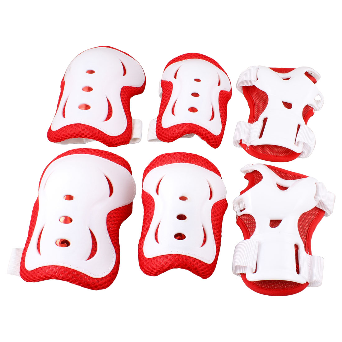 Children Skating Biking Red White Wrist Elbow Knee Pad Mat Protector 3 Pairs