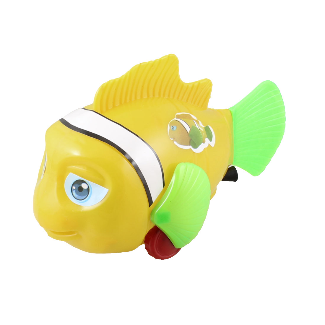 Children Two Red Wheels Swaying Fishtail Pull String Fish Toy Yellow Green