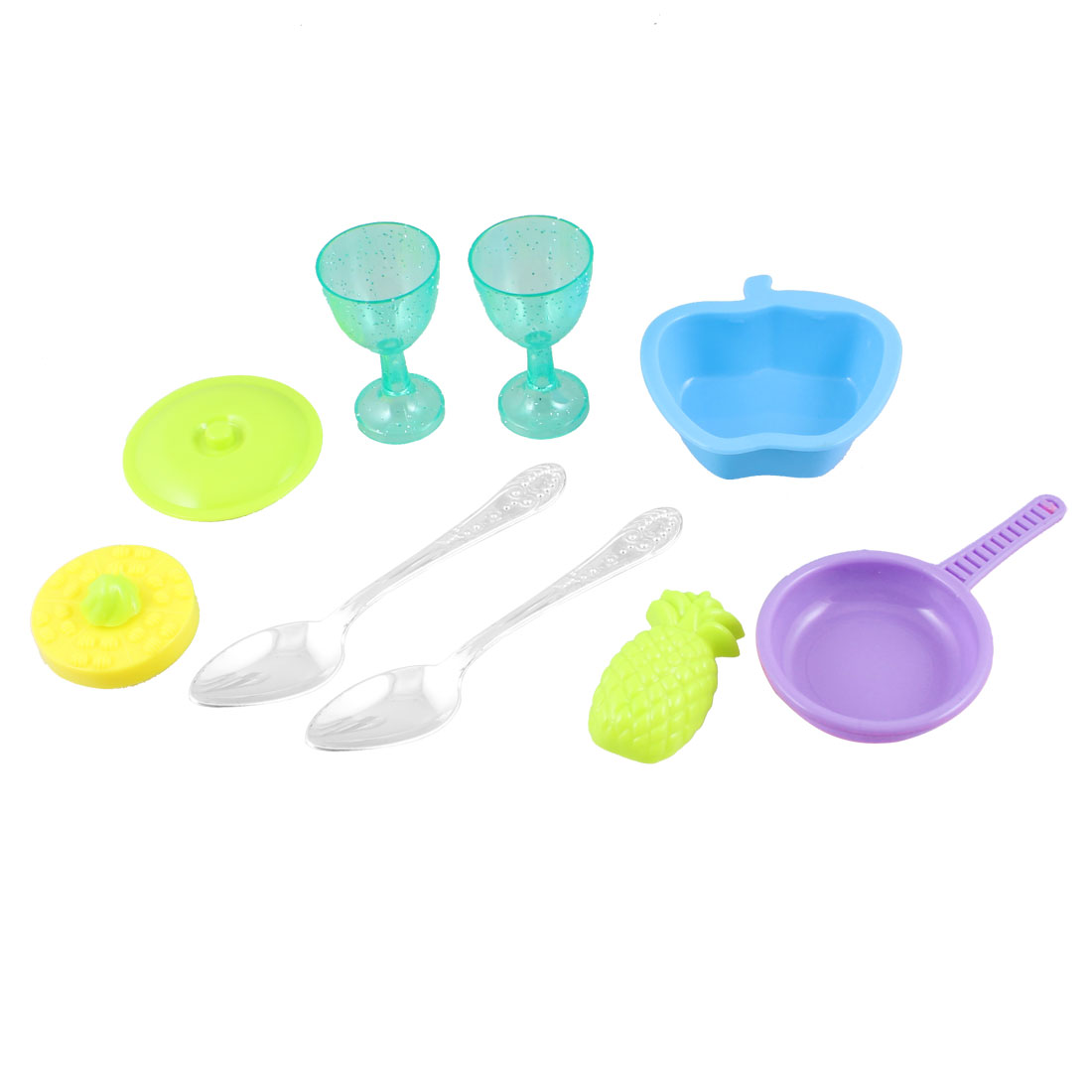 9 in 1 Plastic Kitchen Tool Set Toy Green Pineapple Silver Tone Spoon