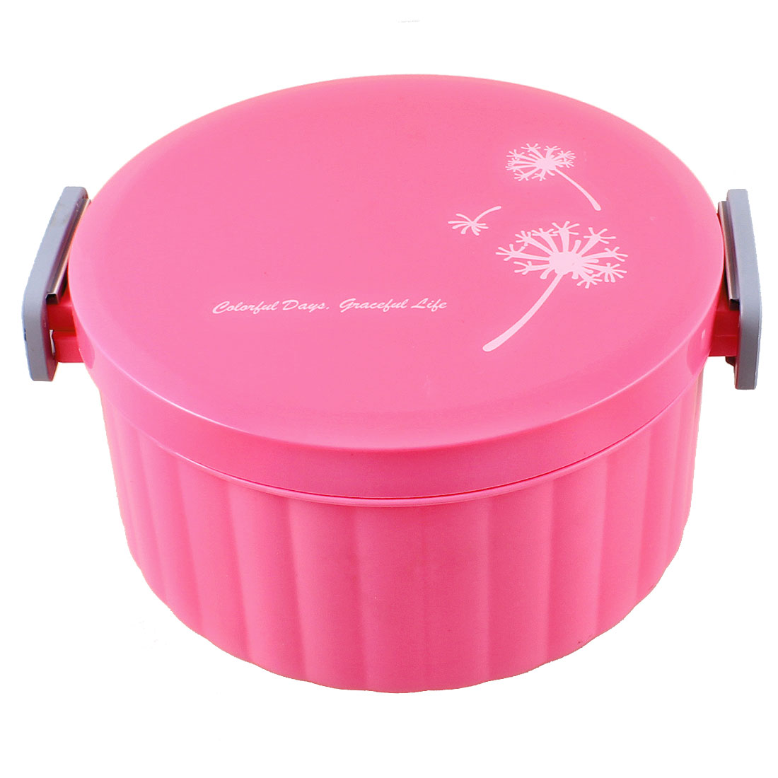 Household Magenta Plastic Round Lunch Box Case Food Container