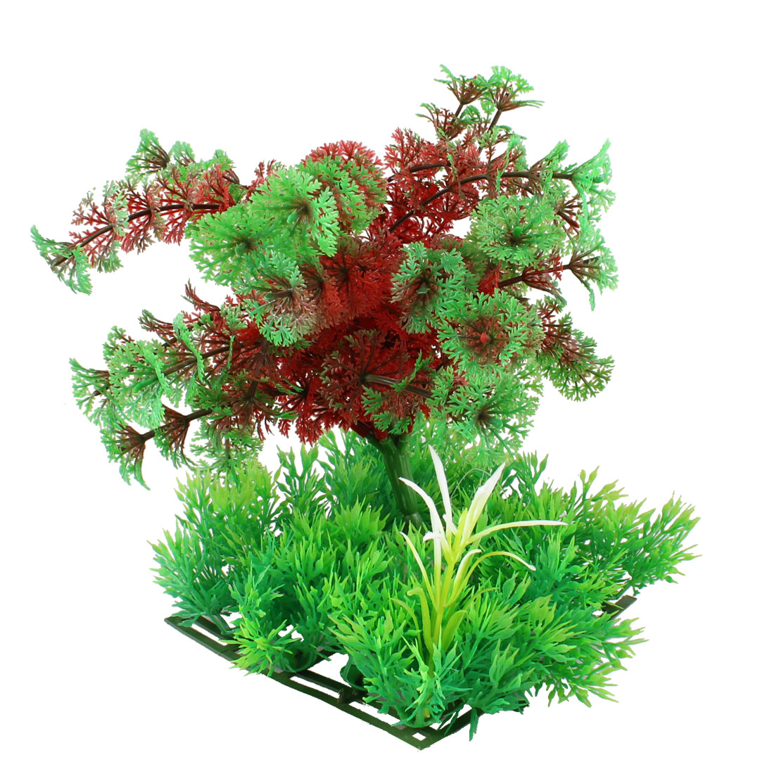 "7.7"" Height Green Red Plastic Artificial Tree Plant Decor for Aquarium"